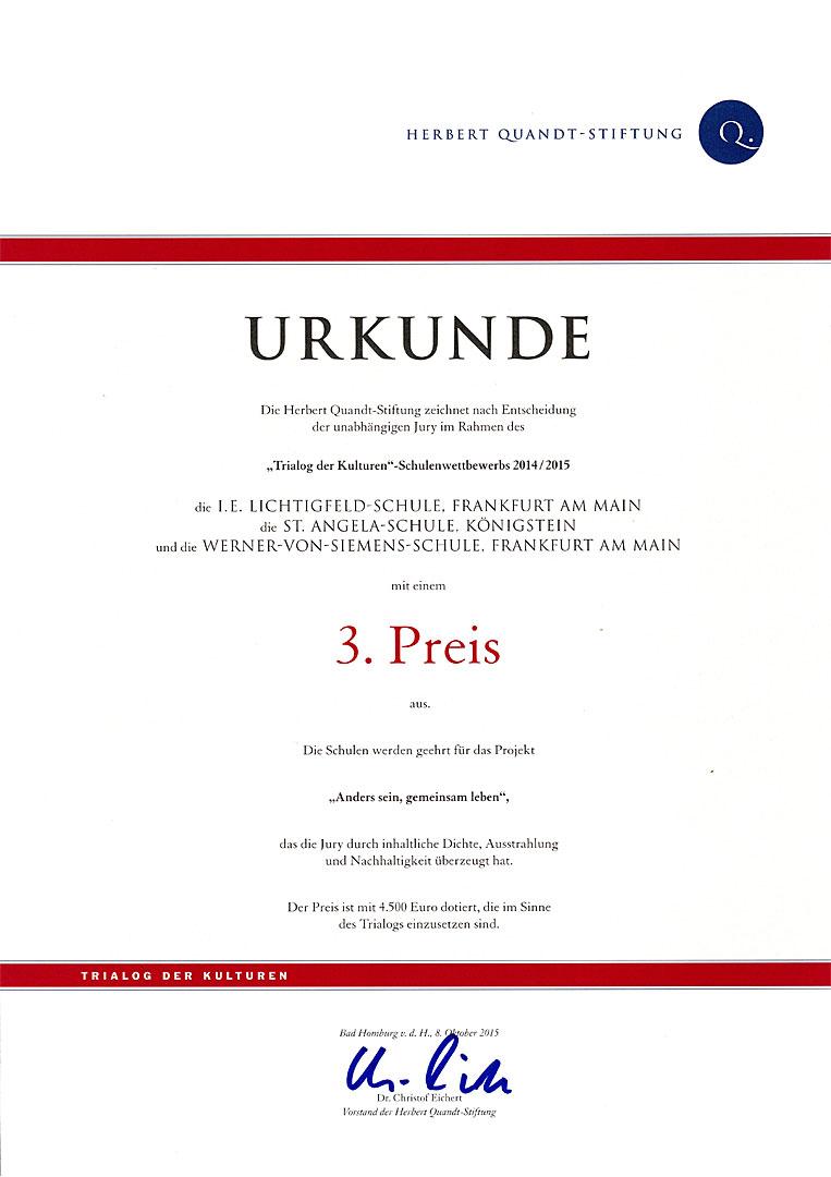Auszeichnung: Trialog der Kulturen