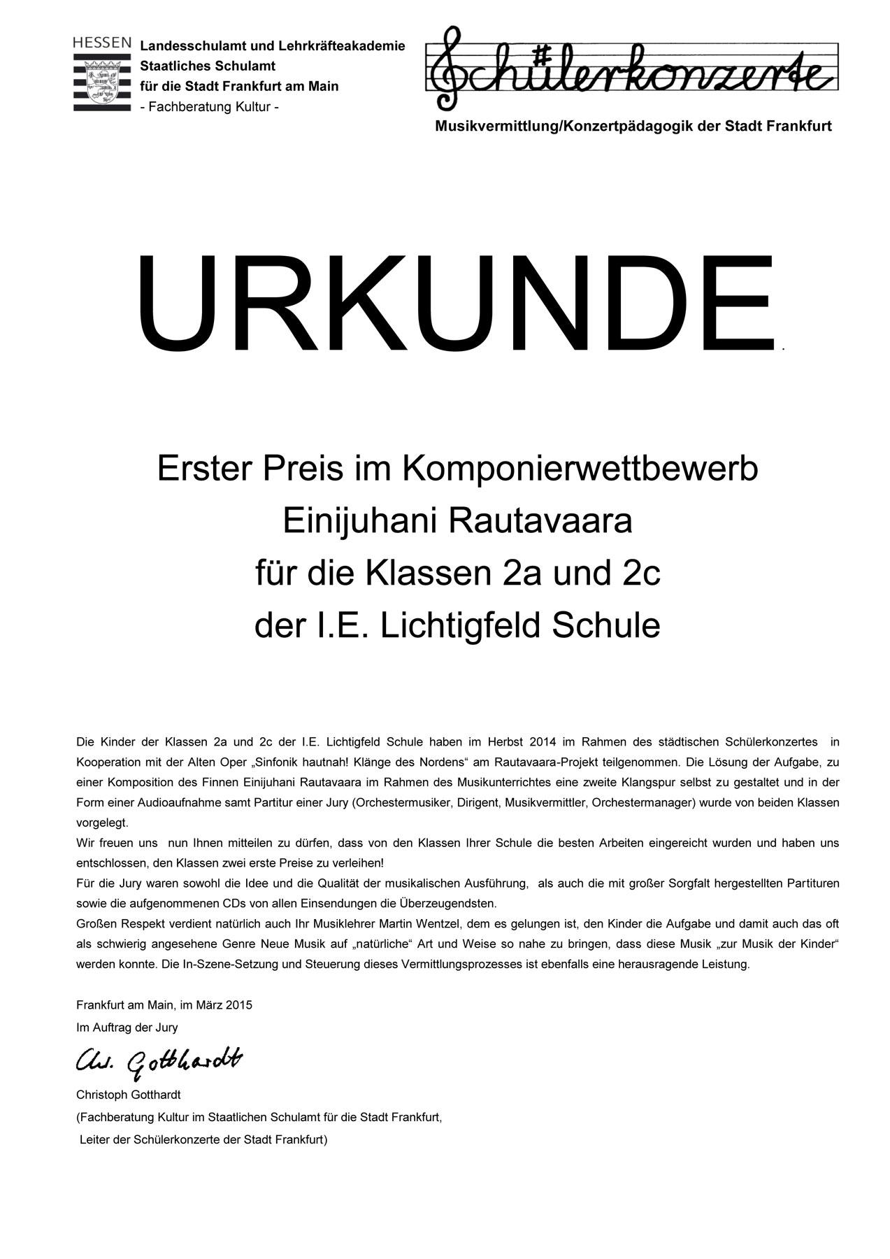 Auszeichnung: Erster Preis im Komponierwettbewerb Einijuhani Rautavaara