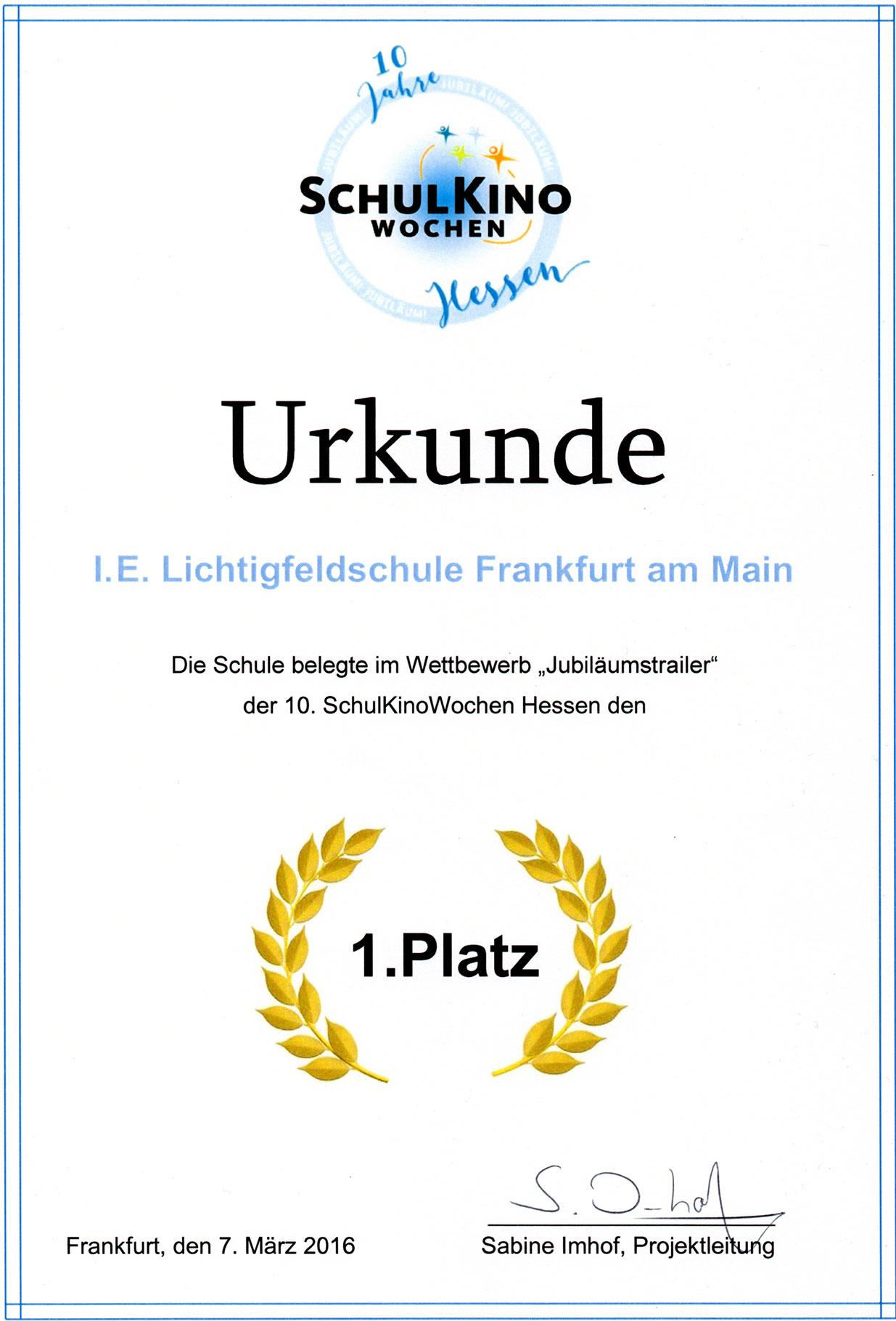 Auszeichnung: Schulkinowochen 2016