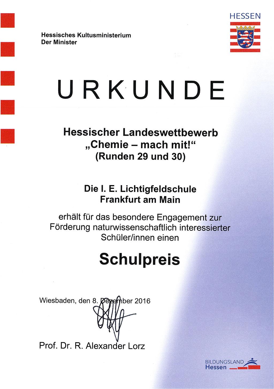 """Hessischer Landeswettbewerb """"Chemie – Mach mit!"""""""