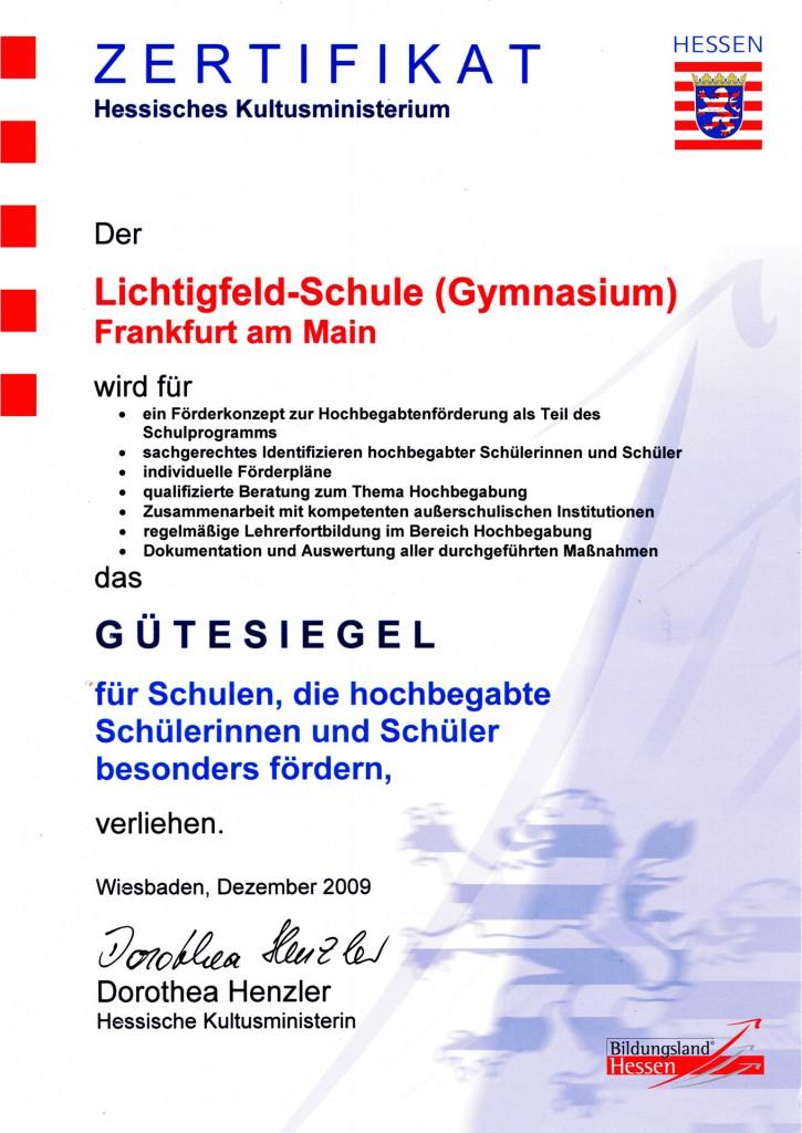 Zertifikat Hochbegabung