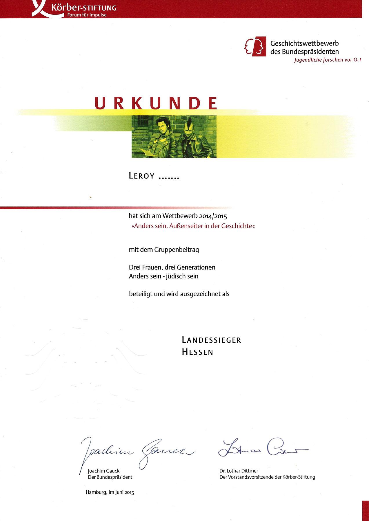 Auszeichnung: Geschichtswettbewerb des Bundespräsidenten