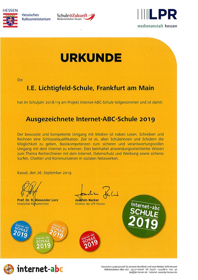 Urkunde Internet-ABC-Schule 2019